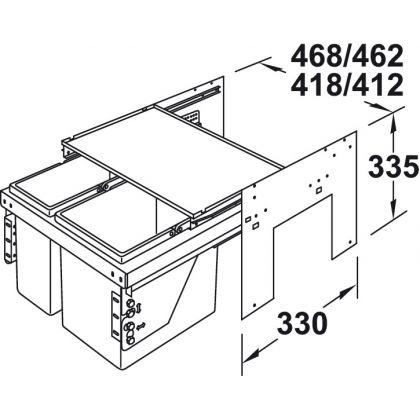 Cos de gunoi incorporabil Hafele 503.76.311, 2x11 l, gri, corp 450 mm, cos plastic