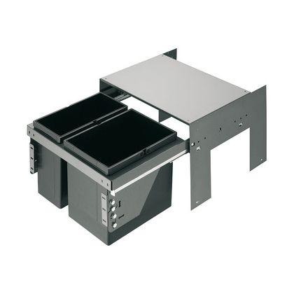 Cos de gunoi incorporabil Hafele 503.76.312, 1x17 l si 1x11 l, gri, corp 500 mm, cos plastic
