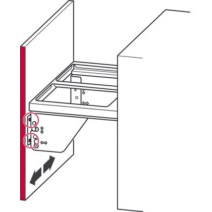 Cos de gunoi incorporabil Hafele 503.76.314, 2x17 l, gri, corp 600 mm, cos plastic