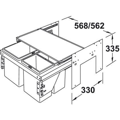 Cos de gunoi incorporabil Hafele 503.76.313, 1x17 l si 2x8 l, gri, corp 600 mm, cos plastic