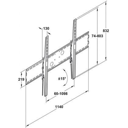 """Suport TV de perete Hafele 817.10.363, capacitate portanta 125 kg, potrivit pentru 60""""-100"""""""