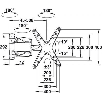"""Suport TV de perete Hafele 817.10.331, capacitate portanta 25 kg, potrivit pentru 23""""-52"""""""