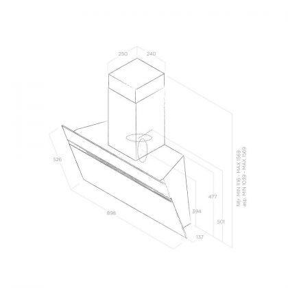 Hota de perete Elica STRIPE URBAN ZINC/A/90, inox cu efect zinc, 90 cm, 755 m3/h