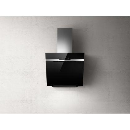 Hota de perete Elica MAJESTIC BL/A 60, 60 cm, sticla neagra + inox, 690 m3/h, evacuare