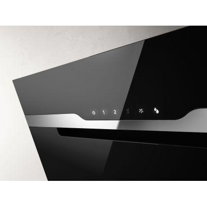 Hota de perete Elica MAJESTIC NO DRIP BL/A/60, 60 cm, sticla neagra + inox, 690 m3/h, evacuare
