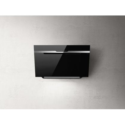 Hota de perete Elica MAJESTIC NO DRIP BL/A/90, 90 cm, sticla neagra + inox, 690 m3/h, evacuare