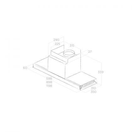Hota incorporabila Elica BOX IN PLUS IXGL/A/120, 120 cm, inox + sticla, 645 m3/h, evacuare