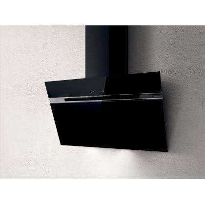 Hota de perete Elica STRIPE BL/A/90/LX, 90 cm, sticla neagra, 757 m3/h, evacuare