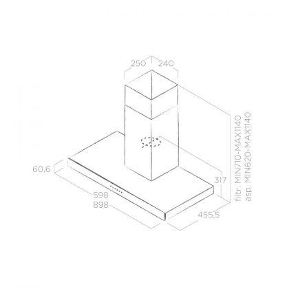 Hota semineu Elica JOY WHIX/A/60, 60 cm, inox + sticla alba, 710 m3/h, evacuare