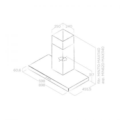 Hota semineu Elica JOY WHIX/A/90, 90 cm, inox + sticla alba, 710 m3/h, evacuare
