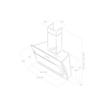 Hota de perete Elica BELT LUX BL/A/55, 55 cm, inox + sticla neagra, 690 m3/h, evacuare