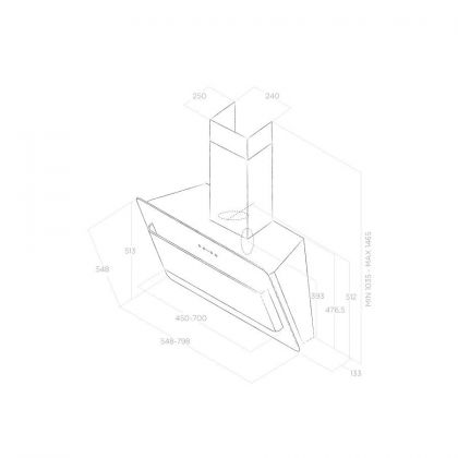 Hota de perete Elica BELT LUX WH/A/55, 55 cm, inox + sticla alba, 690 m3/h, evacuare