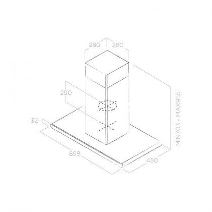 Hota insula Elica GALAXY ISLAND WHIX/A/90x45, 90 cm, inox + sticla alba, 645 m3/h, evacuare
