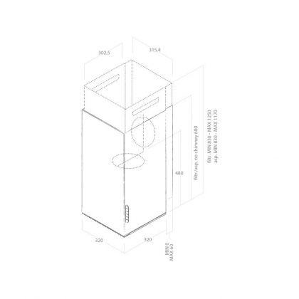 Hota semineu Elica HAIKU IX/A/32, 32 cm, inox, evacuare