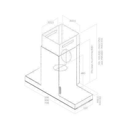 Hota semineu Elica Haiku Concrete/A/60, 60 cm, inox cu efect ciment, evacuare