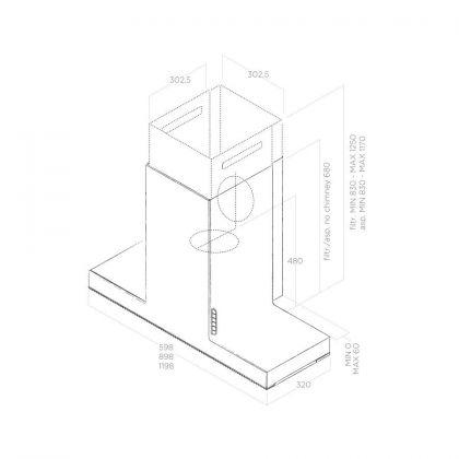 Hota semineu Elica Haiku Concrete/A/120, 120 cm, inox cu efect ciment, evacuare
