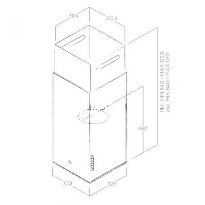 Hota insula Elica HAIKU ISLAND CONCRETE/A/32, 32 cm, inox cu efect ciment, evacuare