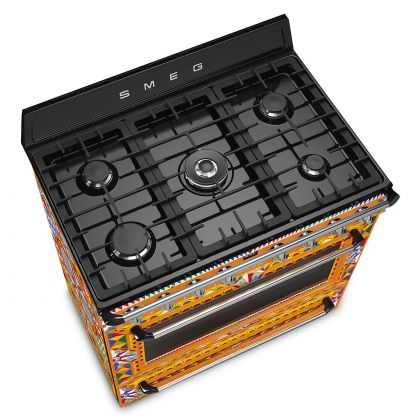 Masina de gatit Smeg Dolce&Gabbana TR90DGC9, arzator wok, gratare fonta, 126 l