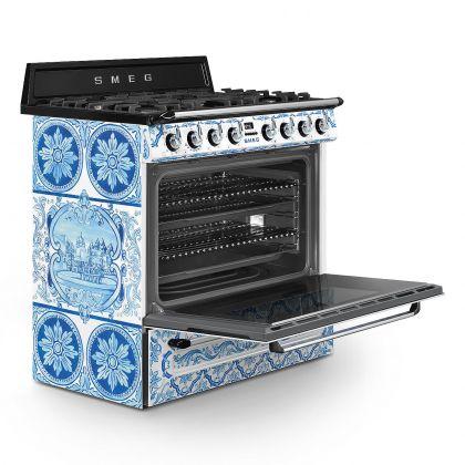 Masina de gatit Smeg Dolce&Gabbana TR90DGM9, arzator wok, gratare fonta, 126 l
