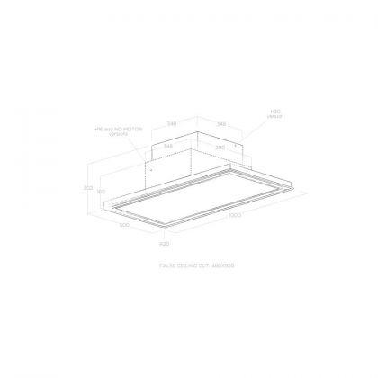 Hota complet incorporabila in tavan Elica SKYDOME H30 A/100, telecomanda, 30 cm inaltime, evacuare