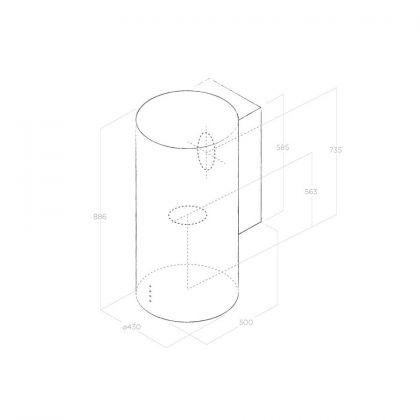 Hota rotunda de perete Elica TUBE PRO BL/A/43, negru, 43 cm