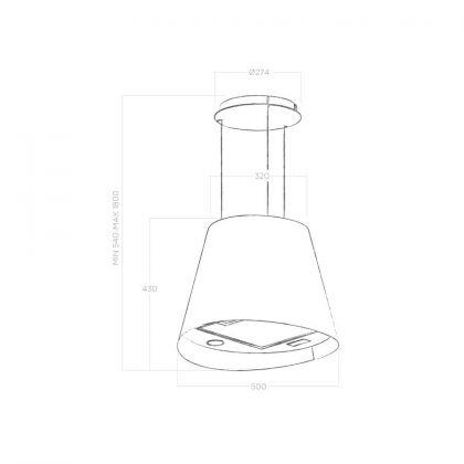 Hota insula rotunda Elica JUNO IX/F/50, inox, 50 cm, recirculare