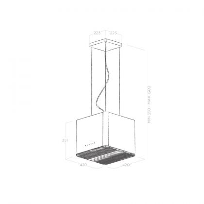 Hota insula Elica PIX CONCRETE/F/42, ciment, 42 cm, recirculare
