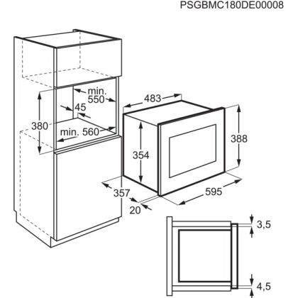 Cuptor cu microunde incorporabil Electrolux LMS4253TMW, alb, 900 W, functie grill, 25 l