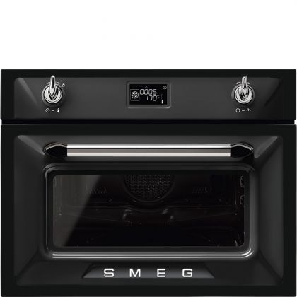 Cuptor incorporabil compact combinat cu microunde Smeg Victoria SF4920MCN1, negru, 60 cm, retro, Vapor Clean