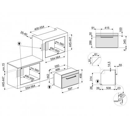 Cuptor incorporabil compact combinat cu microunde Smeg Victoria SF4920MCP1, crem, 60 cm, retro, Vapor Clean