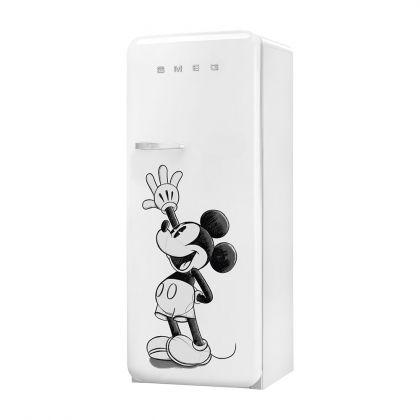 Frigider retro Smeg FAB28RDMM4, alb cu model Mickey Mouse, A+++, ventilat, inverter, tratament antibacterian, balamale dreapta
