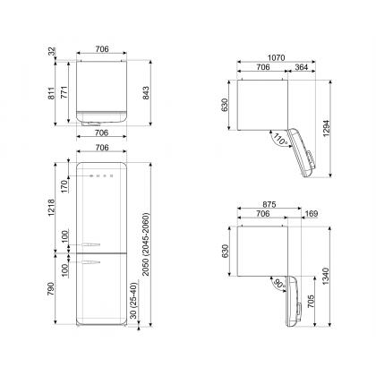 Combina frigorifica retro Smeg FAB38RBL, 70 cm latime, No Frost, clasa G, negru, inverter, Ice maker