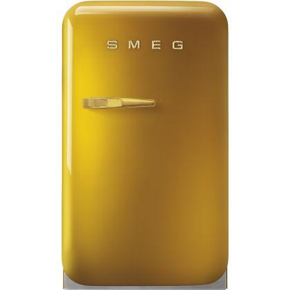 Frigider minibar retro pentru bauturi Smeg FAB5RDGO3, auriu, sigla din cristale Swarovski, 40 cm latime