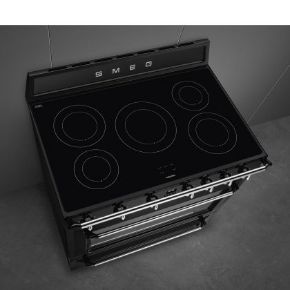 Masina de gatit electrica Smeg Victoria TR90IBL9, 90 cm, neagra, inductie, catalitic