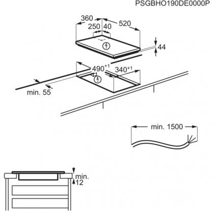 Plita incorporabila cu inductie AEG IKE42640KB 36 CM, functie punte