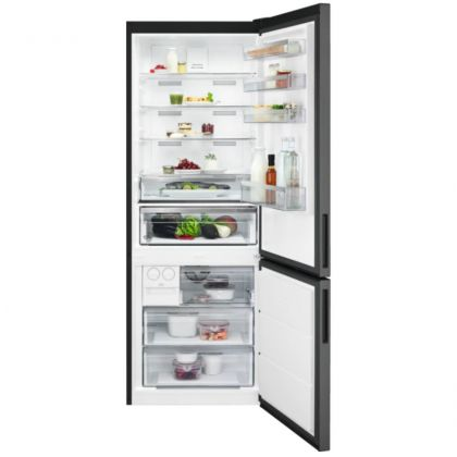 Combina frigorifica AEG RCB646E3MB, 461 l, A++, frost free, inox negru, TwinTech, MultiFlow