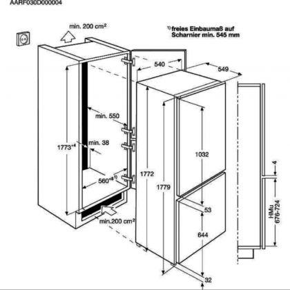 Combina frigorifica incorporabila AEG SCE818E6TS, 253 l, clasa E, frost free, TwinTech