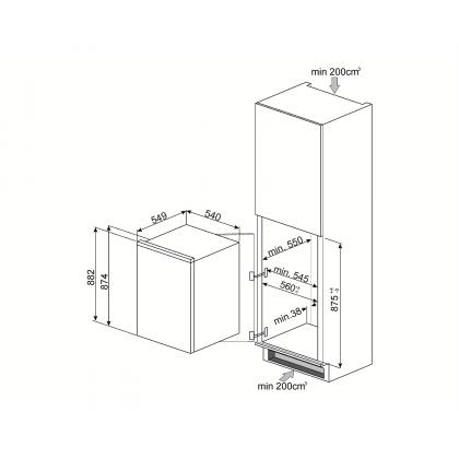 Frigider minibar incorporabil Smeg S3L090P1, 55 cm, static