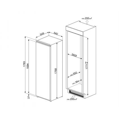 Frigider incorporabil cu o usa Smeg S7323LFEP1, A+, ventilat