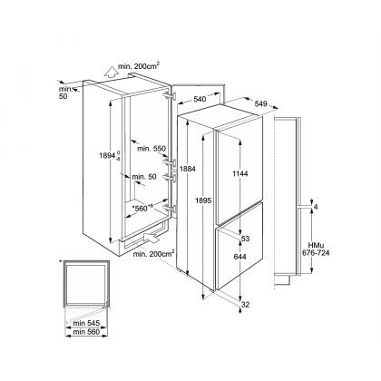 Combina frigorifica incorporabila Smeg C7194N2P, No Frost, A++