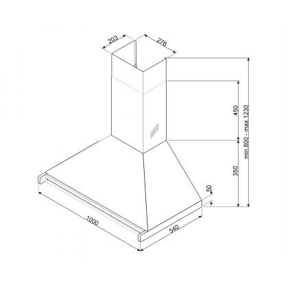 Hota semineu Smeg Classic KD100HXE, 100 cm, inox