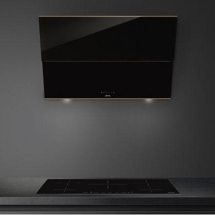 Hota de perete Smeg Dolce Stil Novo KSVV90NRA, 90 cm, neagra cu finisaje cupru