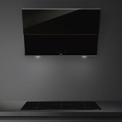 Hota de perete Smeg Dolce Stil Novo KSVV90NX, 90 cm, neagra cu finisaje inox