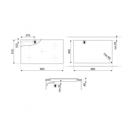 Plita incorporabila cu inductie Smeg SI2M7953DW, 90 cm, alba