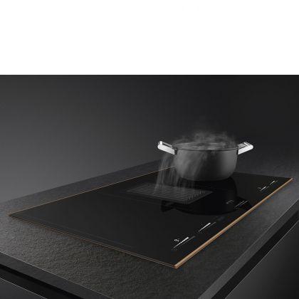 Plita incorporabila cu inductie si hota integrata Smeg Dolce Stil Novo HOBD682R, 80 cm, finisaje cupru