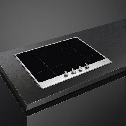 Plita incorporabila cu inductie retro Smeg Classic SI364FXM, 60 cm, rama inox