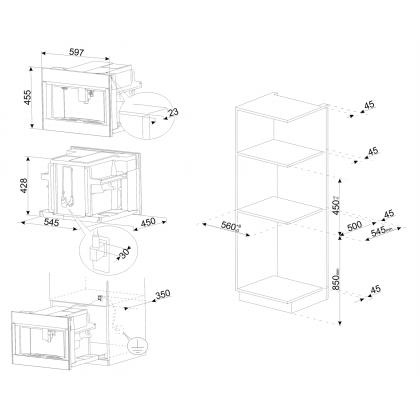 Espressor incorporabil compact Smeg Linea CMS4104S, silver, 13 bauturi