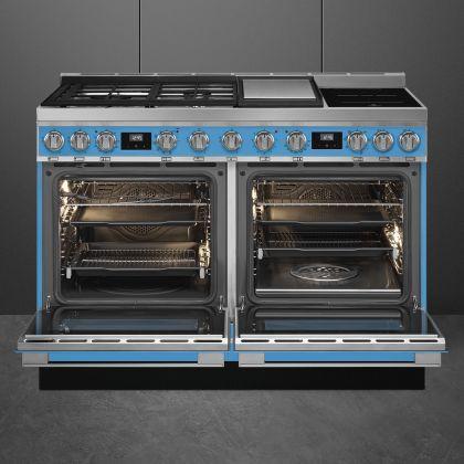 Masina de gatit mixta Smeg Portofino CPF120IGMPT, 120 cm, 2 cuptoare, Turquoise