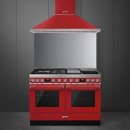 Masina de gatit mixta Smeg Portofino CPF120IGMPR, 120 cm, 2 cuptoare, rosu