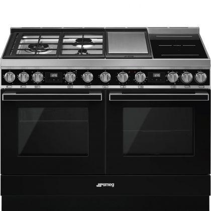 Masina de gatit mixta Smeg Portofino CPF120IGMPBL, 120 cm, 2 cuptoare, negru